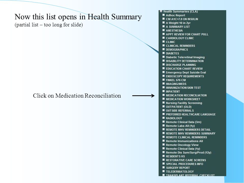 To find all meds from spokes you need to go to Health Summary (near bottom of list) Clarksburg Erie Pittsburgh Click to open Clarksburg Health Summary