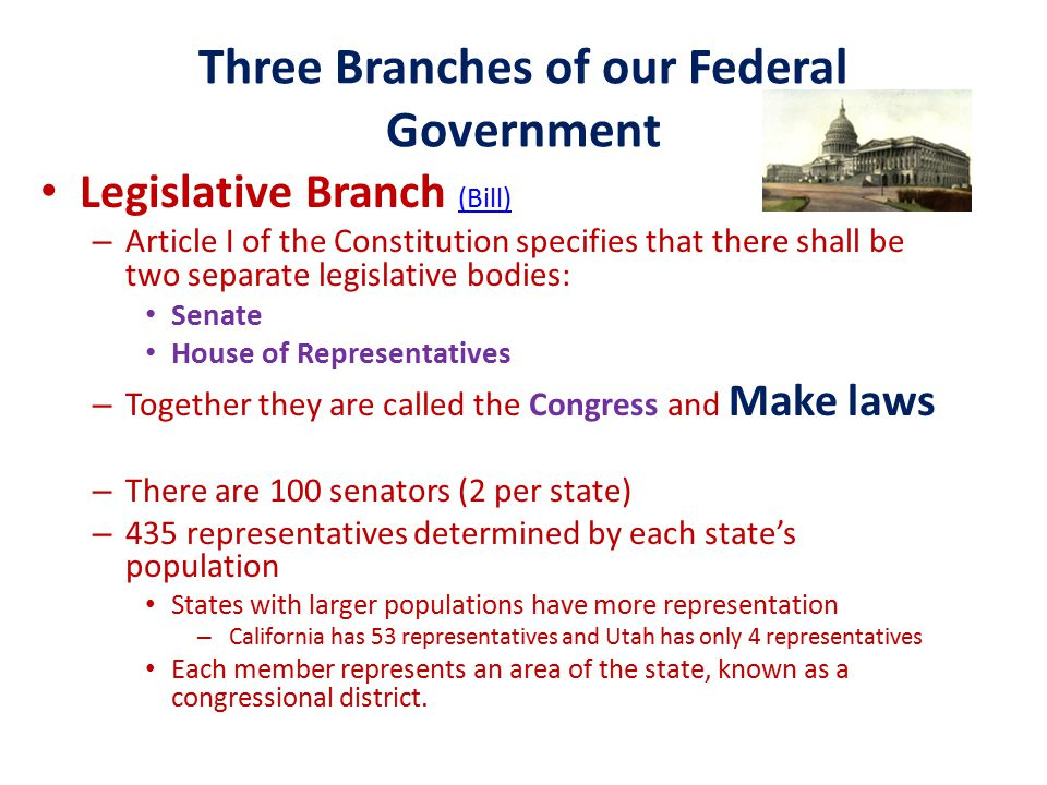 Three Branches of our Federal Government Legislative Branch (Bill) (Bill) – Article I of the Constitution specifies that there shall be two separate legislative bodies: Senate House of Representatives – Together they are called the Congress and Make laws – There are 100 senators (2 per state) – 435 representatives determined by each state's population States with larger populations have more representation – California has 53 representatives and Utah has only 4 representatives Each member represents an area of the state, known as a congressional district.