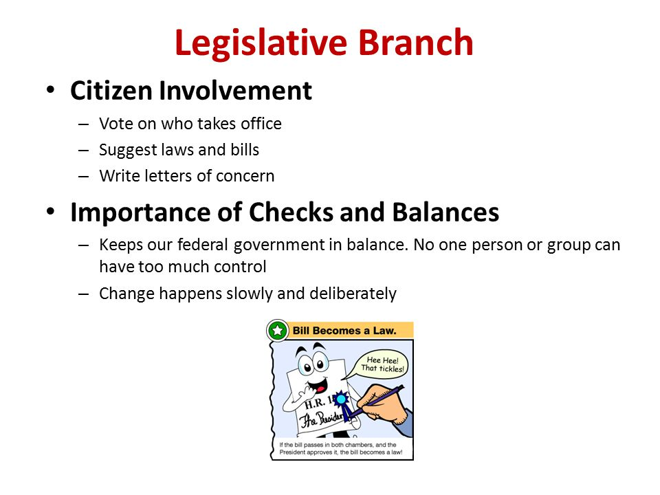 Legislative Branch Citizen Involvement – Vote on who takes office – Suggest laws and bills – Write letters of concern Importance of Checks and Balances – Keeps our federal government in balance.