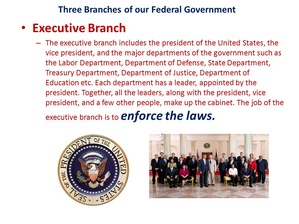Three Branches of our Federal Government Executive Branch – The executive branch includes the president of the United States, the vice president, and the major departments of the government such as the Labor Department, Department of Defense, State Department, Treasury Department, Department of Justice, Department of Education etc.
