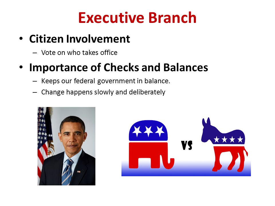 Executive Branch Citizen Involvement – Vote on who takes office Importance of Checks and Balances – Keeps our federal government in balance. – Change