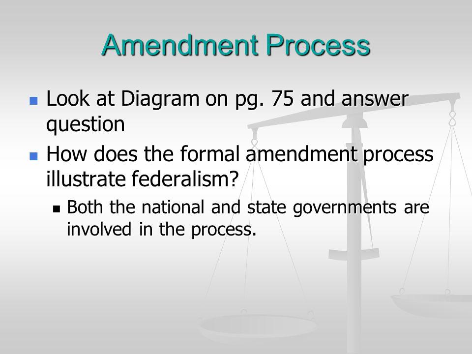 Amendment Process Look at Diagram on pg. 75 and answer question Look at Diagram on pg. 75 and answer question How does the formal amendment process il