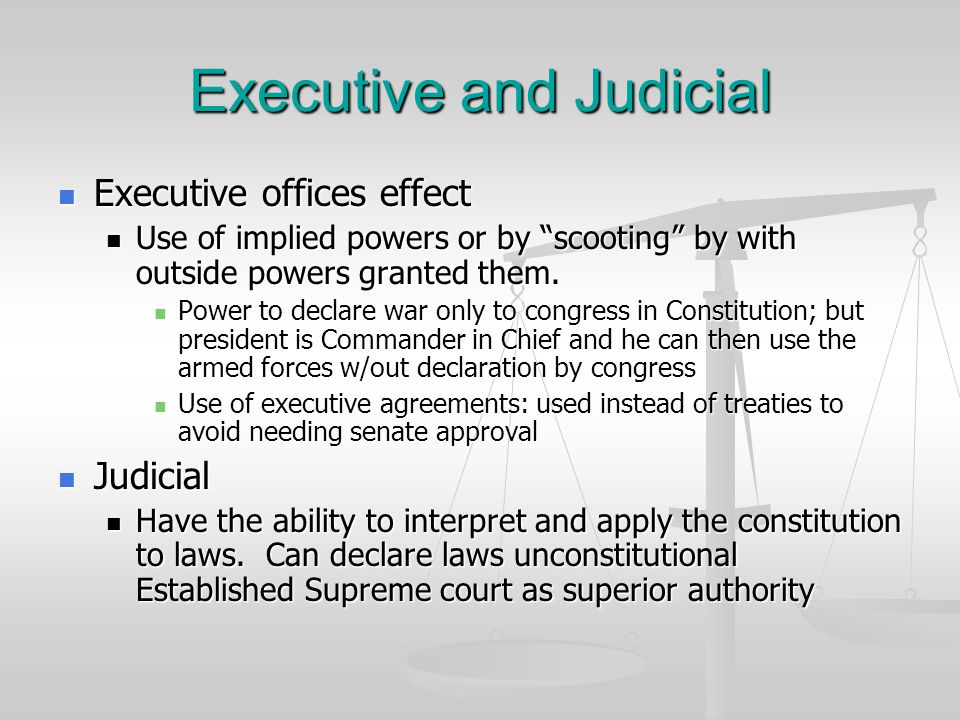 """Executive and Judicial Executive offices effect Executive offices effect Use of implied powers or by """"scooting"""" by with outside powers granted them. U"""