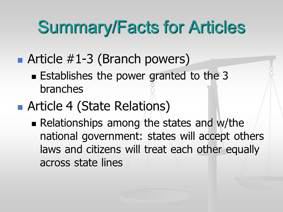 Summary/Facts for Articles Article 5 (Amending) Article 5 (Amending) Outlines the method for changing or amending the constitution Outlines the method for changing or amending the constitution Article 6 (Supreme law) Article 6 (Supreme law) Talks about assuming all prior debts (old).