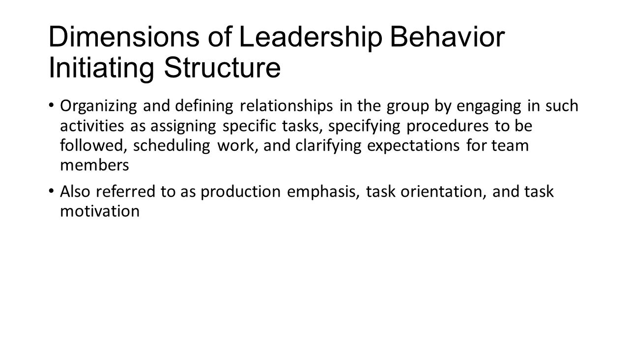Dimensions of Leadership Behavior Initiating Structure Organizing and defining relationships in the group by engaging in such activities as assigning