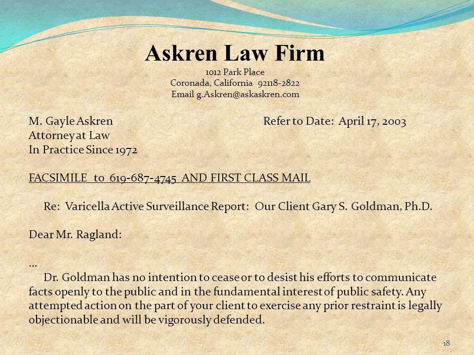 Askren Law Firm 1012 Park Place Coronada, California 92118-2822 Email g.Askren@askaskren.com M.