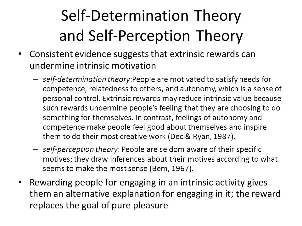 Self-Determination Theory and Self-Perception Theory Consistent evidence suggests that extrinsic rewards can undermine intrinsic motivation – self-determination theory:People are motivated to satisfy needs for competence, relatedness to others, and autonomy, which is a sense of personal control.