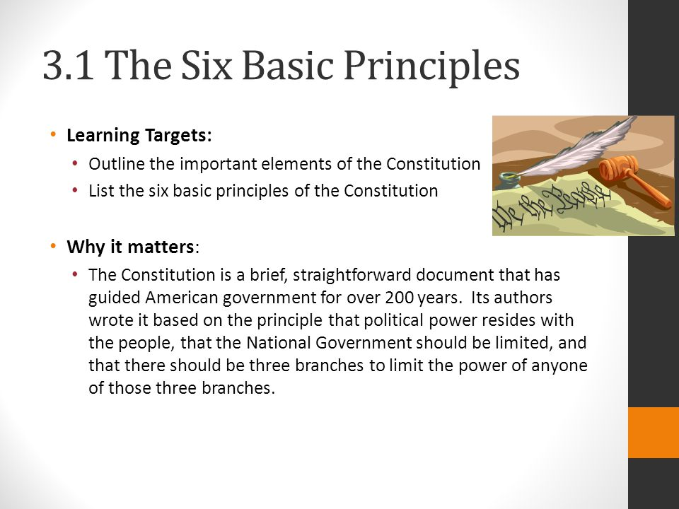 3.1 The Six Basic Principles Learning Targets: Outline the important elements of the Constitution List the six basic principles of the Constitution Why it matters: The Constitution is a brief, straightforward document that has guided American government for over 200 years.