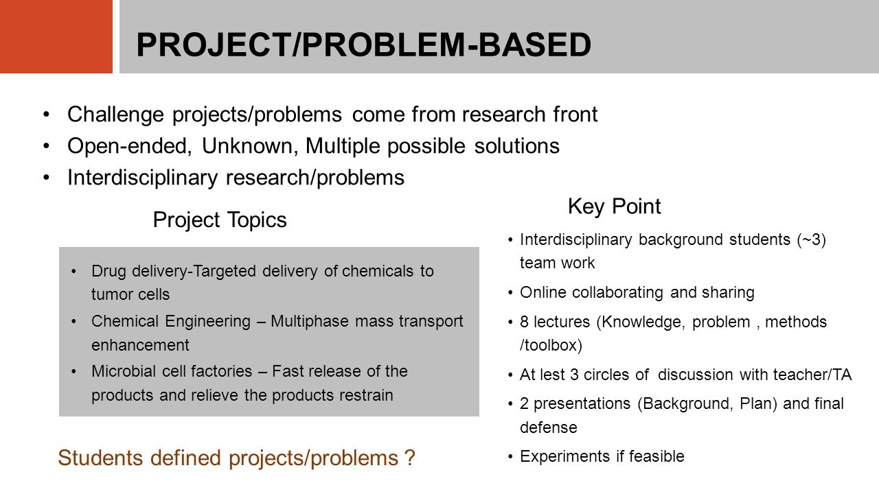 PROJECT/PROBLEM-BASED Challenge projects/problems come from research front Open-ended, Unknown, Multiple possible solutions Interdisciplinary research/problems Drug delivery-Targeted delivery of chemicals to tumor cells Chemical Engineering – Multiphase mass transport enhancement Microbial cell factories – Fast release of the products and relieve the products restrain Students defined projects/problems ? Interdisciplinary background students (~3) team work Online collaborating and sharing 8 lectures (Knowledge, problem, methods /toolbox) At lest 3 circles of discussion with teacher/TA 2 presentations (Background, Plan) and final defense Experiments if feasible Project Topics Key Point