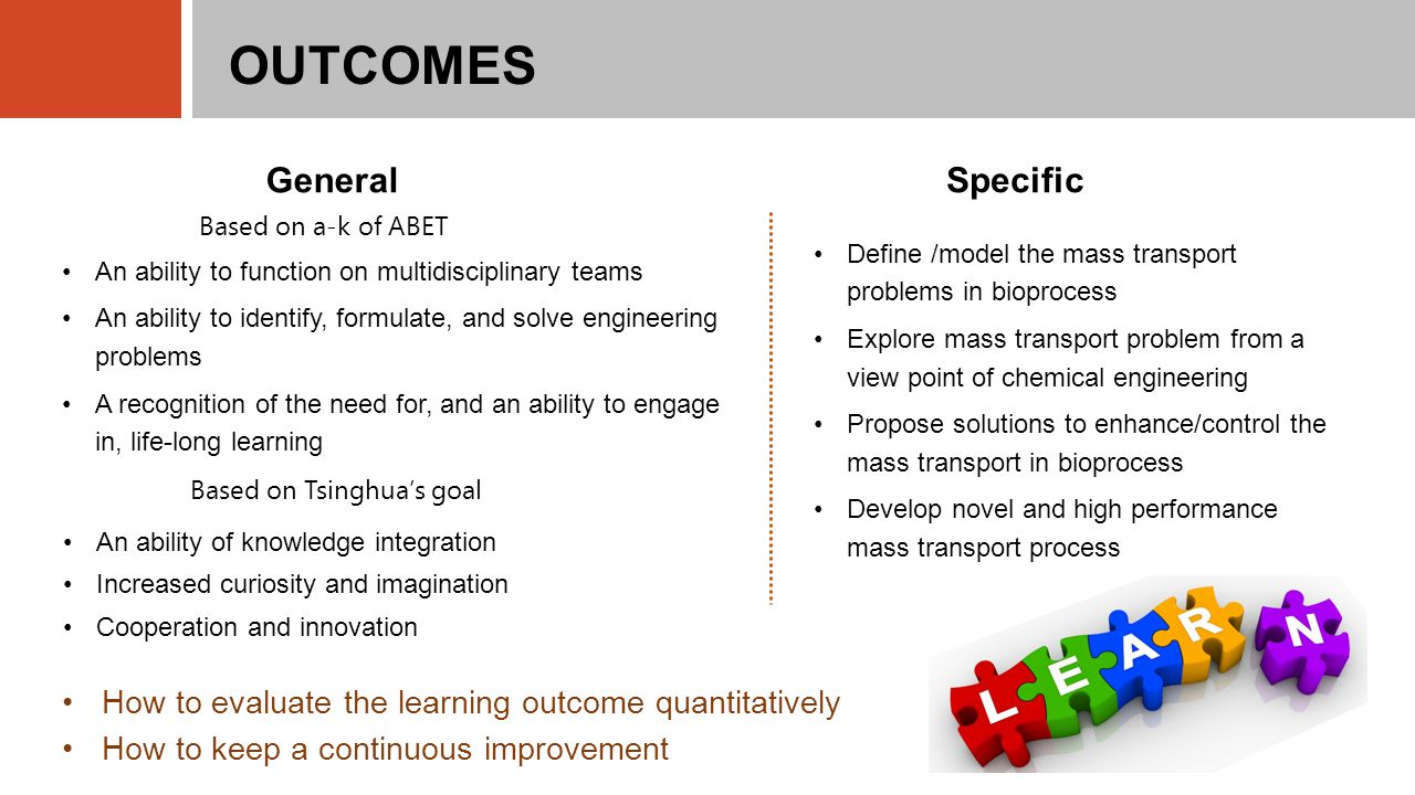 OUTCOMES Based on a-k of ABET How to evaluate the learning outcome quantitatively How to keep a continuous improvement An ability to function on multidisciplinary teams An ability to identify, formulate, and solve engineering problems A recognition of the need for, and an ability to engage in, life-long learning General Specific Define /model the mass transport problems in bioprocess Explore mass transport problem from a view point of chemical engineering Propose solutions to enhance/control the mass transport in bioprocess Develop novel and high performance mass transport process Based on Tsinghua's goal An ability of knowledge integration Increased curiosity and imagination Cooperation and innovation