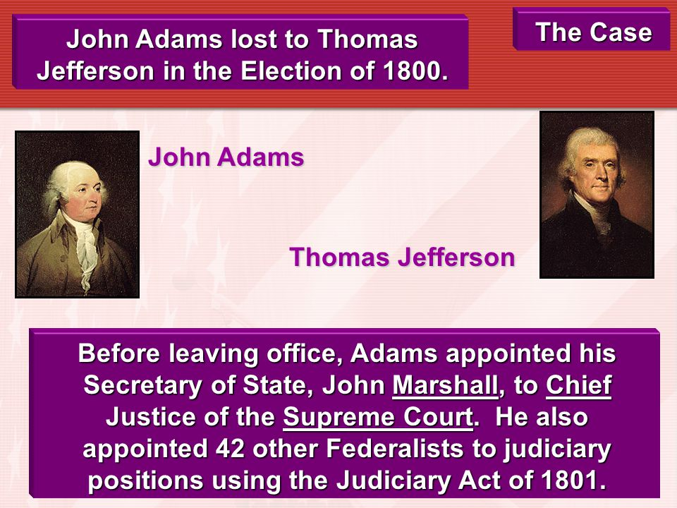 The Plaintiff: William Marbury The Defendant: James Madison The Judge: Chief Justice John Marshall