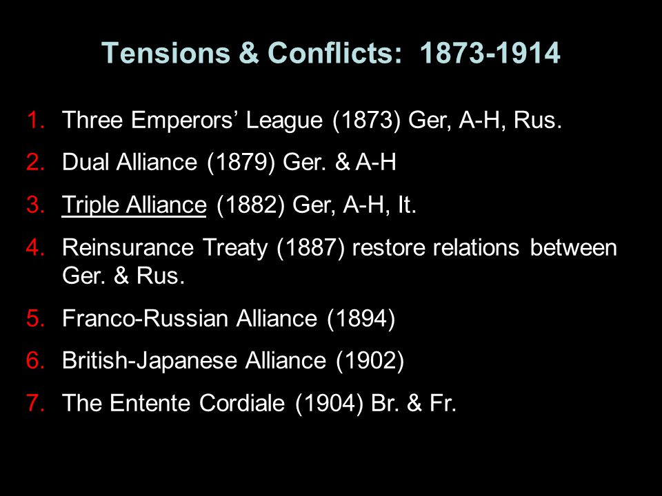1.Three Emperors' League (1873) Ger, A-H, Rus. 2.Dual Alliance (1879) Ger. & A-H 3.Triple Alliance (1882) Ger, A-H, It. 4.Reinsurance Treaty (1887) re