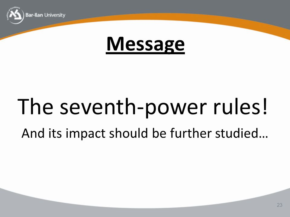 Message The seventh-power rules! And its impact should be further studied… 23