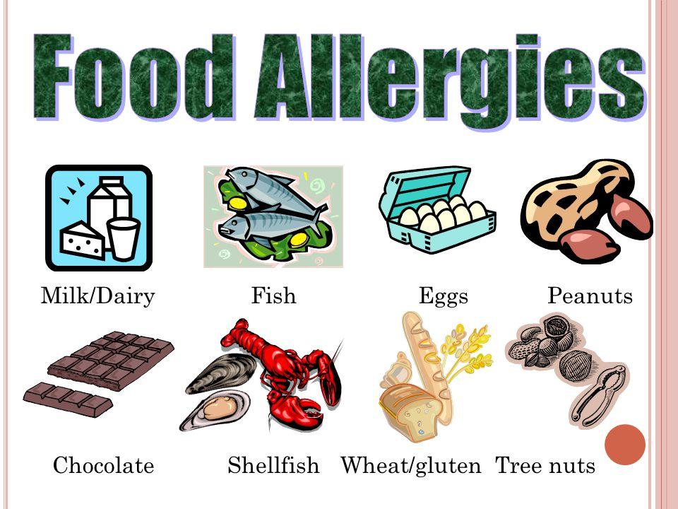 Milk/DairyFishPeanutsEggs ChocolateShellfishWheat/glutenTree nuts