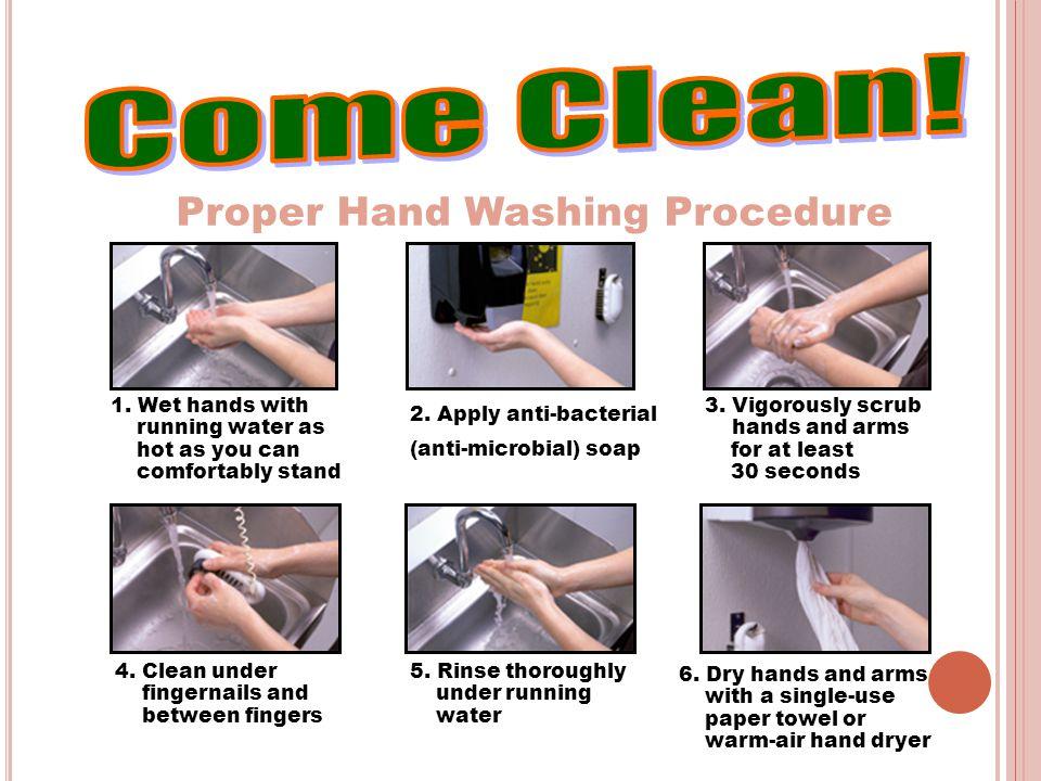 Proper Hand Washing Procedure 4.Clean under fingernails and between fingers 5.