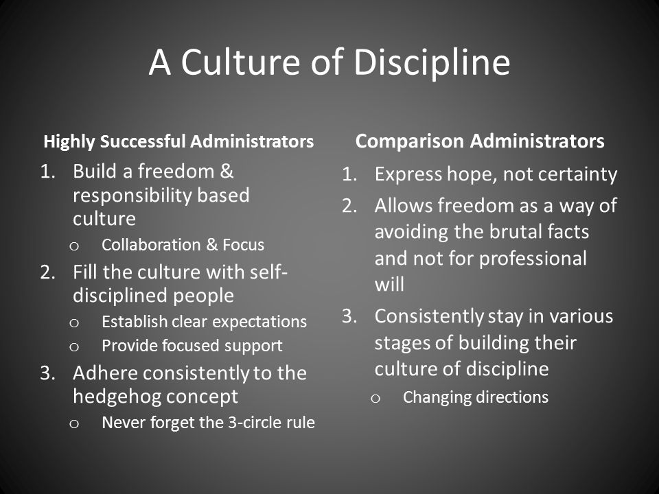 A Culture of Discipline Highly Successful Administrators 1.Build a freedom & responsibility based culture o Collaboration & Focus 2.Fill the culture w