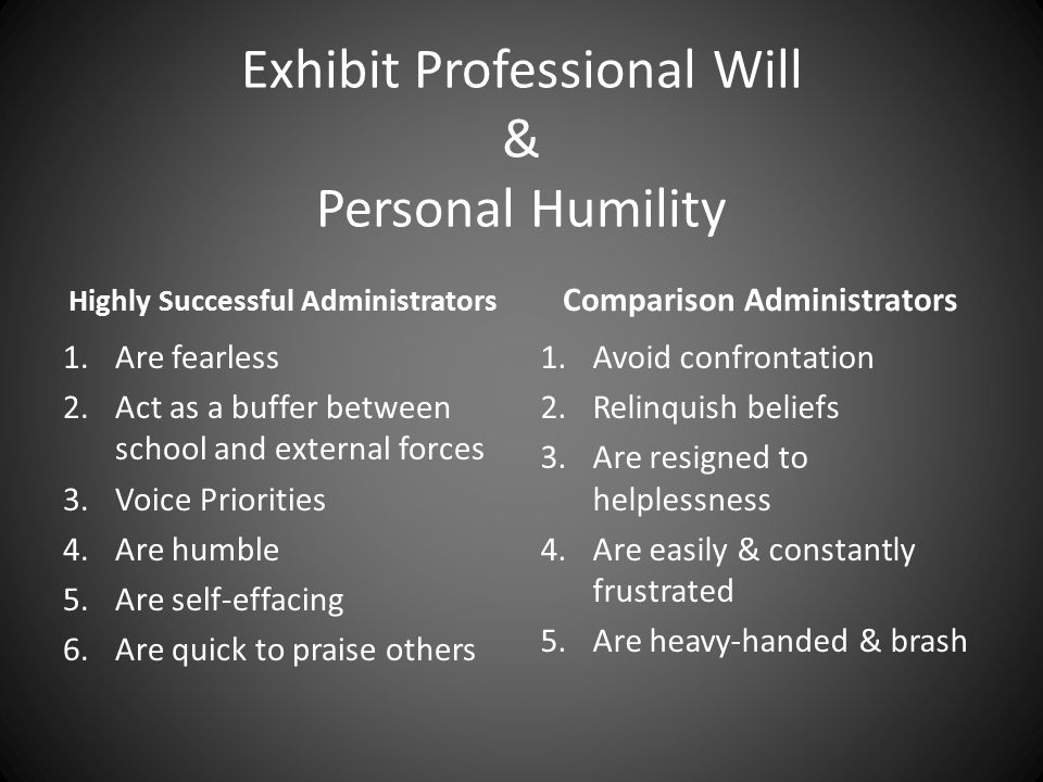 Exhibit Professional Will & Personal Humility Highly Successful Administrators 1.Are fearless 2.Act as a buffer between school and external forces 3.Voice Priorities 4.Are humble 5.Are self-effacing 6.Are quick to praise others Comparison Administrators 1.Avoid confrontation 2.Relinquish beliefs 3.Are resigned to helplessness 4.Are easily & constantly frustrated 5.Are heavy-handed & brash