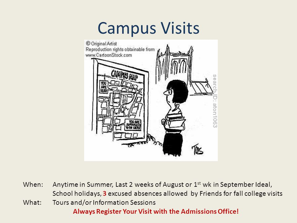 Campus Visits When:Anytime in Summer, Last 2 weeks of August or 1 st wk in September Ideal, School holidays, 3 excused absences allowed by Friends for fall college visits What:Tours and/or Information Sessions Always Register Your Visit with the Admissions Office!