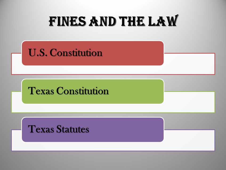 Fines and the Law U.S. Constitution Texas Constitution Texas Statutes
