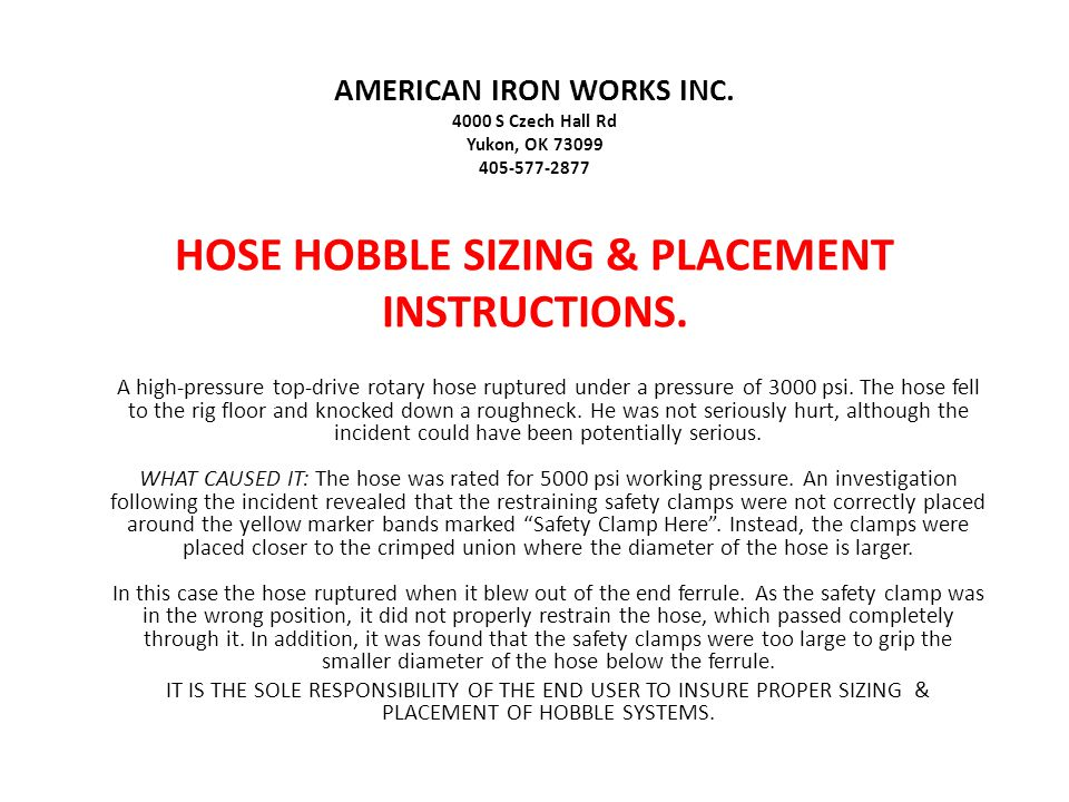 AMERICAN IRON WORKS INC.