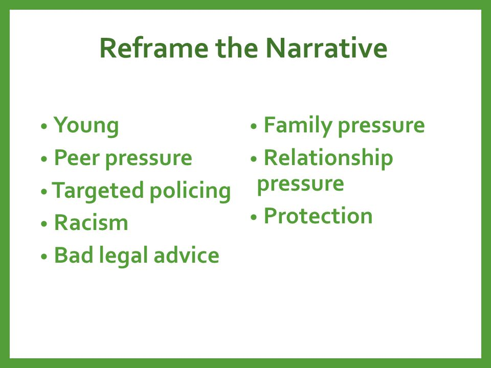 Reframe the Narrative Left abusive relationship Maintaining access to children Residency restrictions Housing program lost funding Waitlist Poverty