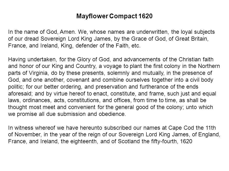 Signing the Mayflower Compact Geneva Bible 1599