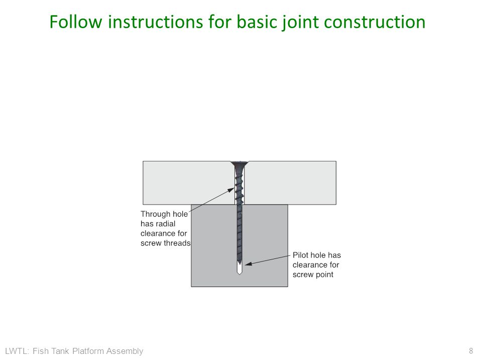 LWTL: Fish Tank Platform Assembly Follow instructions for basic joint construction 8