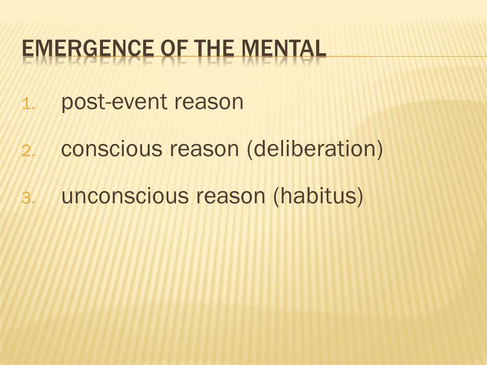 1. post-event reason 2. conscious reason (deliberation) 3. unconscious reason (habitus)