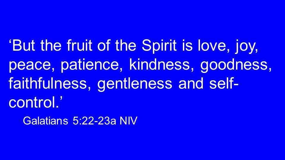 'But the fruit of the Spirit is love, joy, peace, patience, kindness, goodness, faithfulness, gentleness and self- control.' Galatians 5:22-23a NIV