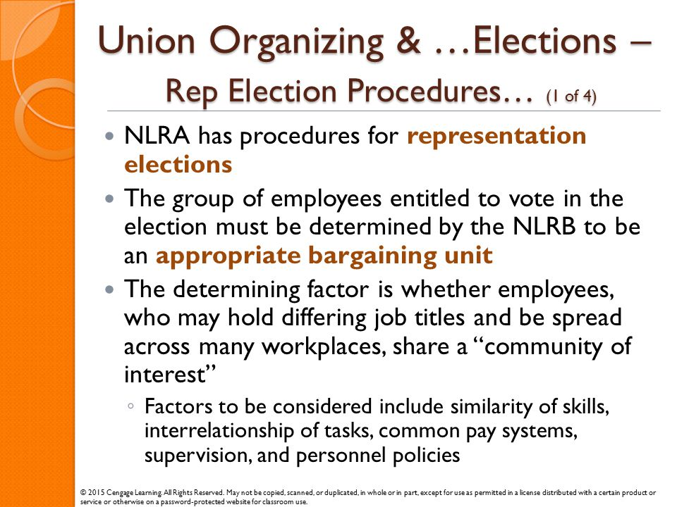 Union Organizing & …Elections – Rep Election Procedures… (1 of 4) NLRA has procedures for representation elections The group of employees entitled to
