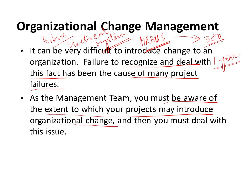 Organizational Change Management It can be very difficult to introduce change to an organization. Failure to recognize and deal with this fact has bee