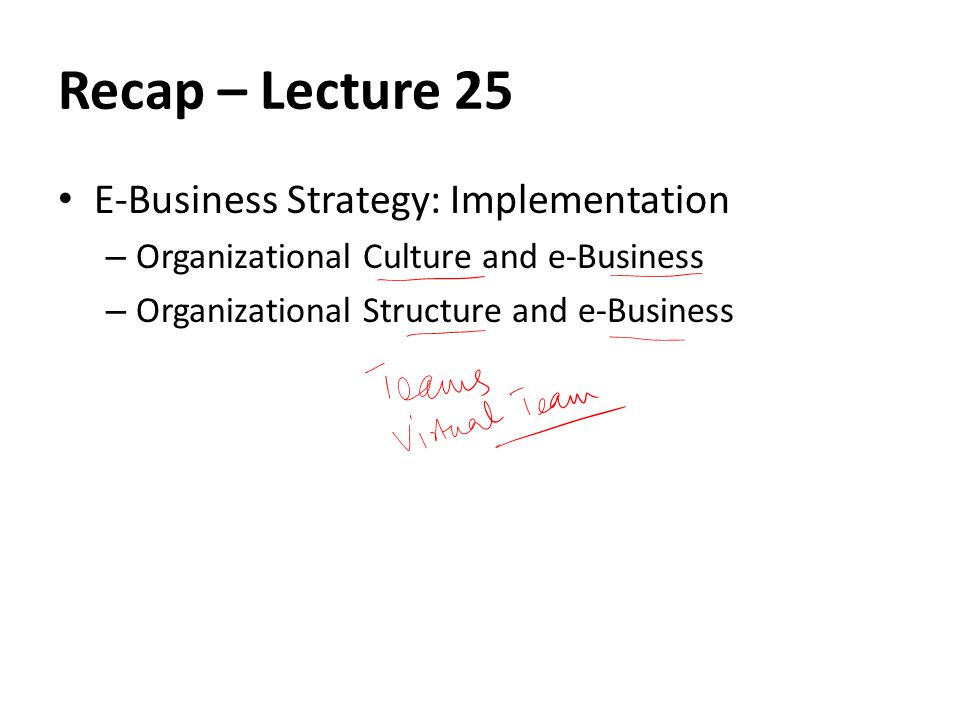Recap – Lecture 25 E-Business Strategy: Implementation – Organizational Culture and e-Business – Organizational Structure and e-Business