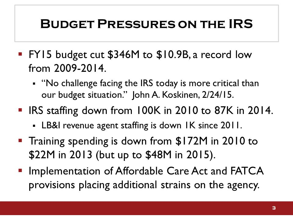 Budget Pressures on the IRS  FY15 budget cut $346M to $10.9B, a record low from 2009-2014.