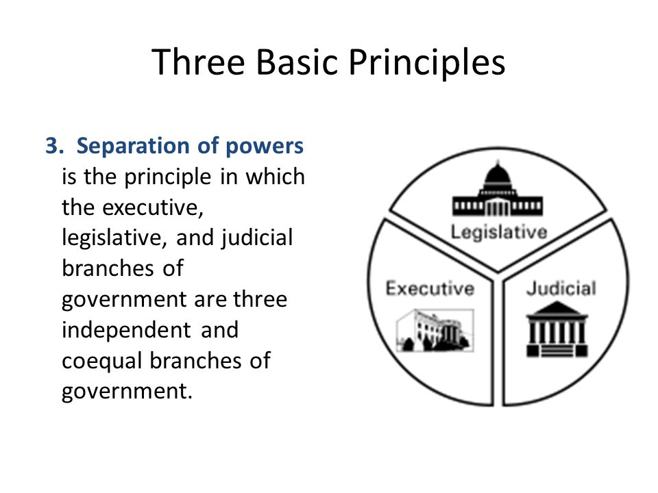Three Basic Principles 3. Separation of powers is the principle in which the executive, legislative, and judicial branches of government are three ind