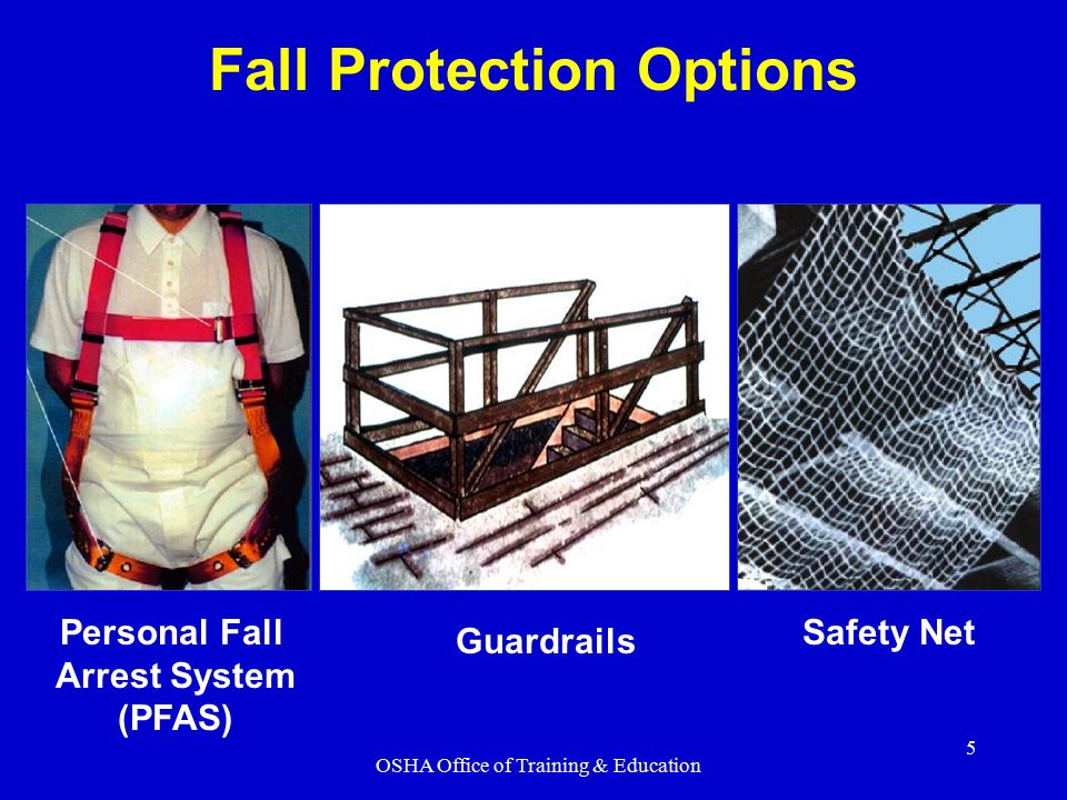 OSHA Office of Training & Education 5 Personal Fall Arrest System (PFAS) Guardrails Safety Net Fall Protection Options