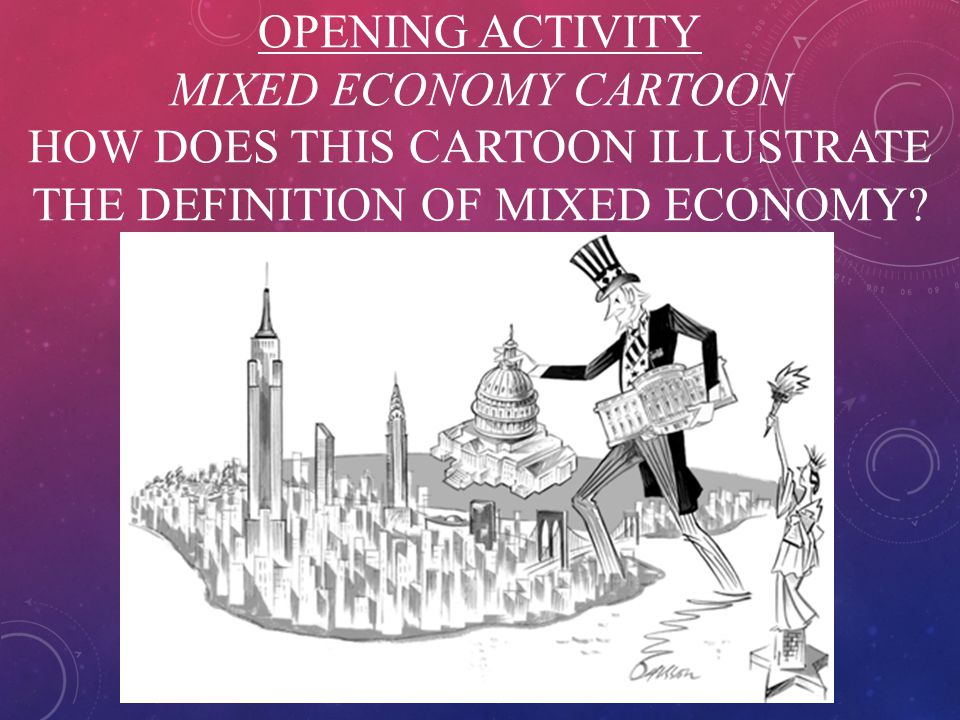 OPENING ACTIVITY MIXED ECONOMY CARTOON HOW DOES THIS CARTOON ILLUSTRATE THE DEFINITION OF MIXED ECONOMY?