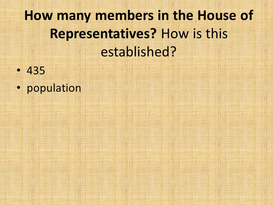 How many members in the House of Representatives? How is this established? 435 population