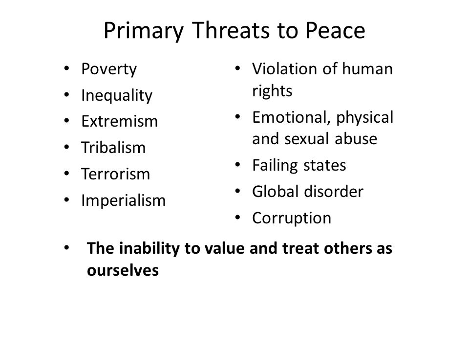 Primary Threats to Peace Poverty Inequality Extremism Tribalism Terrorism Imperialism Violation of human rights Emotional, physical and sexual abuse Failing states Global disorder Corruption The inability to value and treat others as ourselves