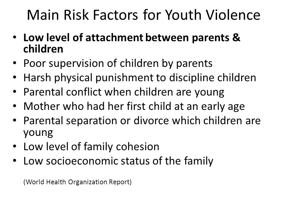 Main Risk Factors for Youth Violence Low level of attachment between parents & children Poor supervision of children by parents Harsh physical punishment to discipline children Parental conflict when children are young Mother who had her first child at an early age Parental separation or divorce which children are young Low level of family cohesion Low socioeconomic status of the family (World Health Organization Report)