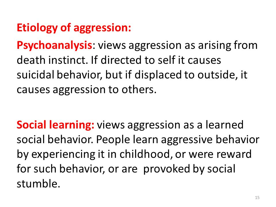 Etiology of aggression: Psychoanalysis: views aggression as arising from death instinct.