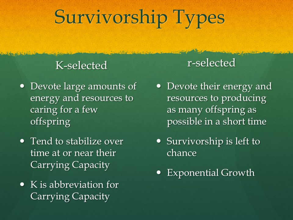Survivorship Types K-selected Devote large amounts of energy and resources to caring for a few offspring Tend to stabilize over time at or near their