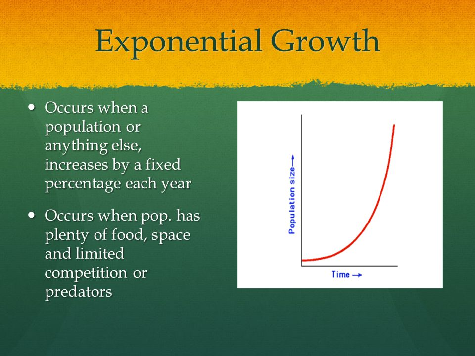 Occurs when a population or anything else, increases by a fixed percentage each year Occurs when a population or anything else, increases by a fixed p