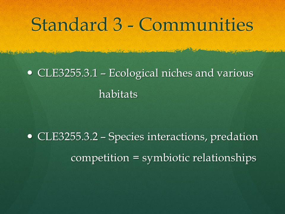 Standard 3 - Communities CLE3255.3.1 – Ecological niches and various CLE3255.3.1 – Ecological niches and various habitats habitats CLE3255.3.2 – Speci