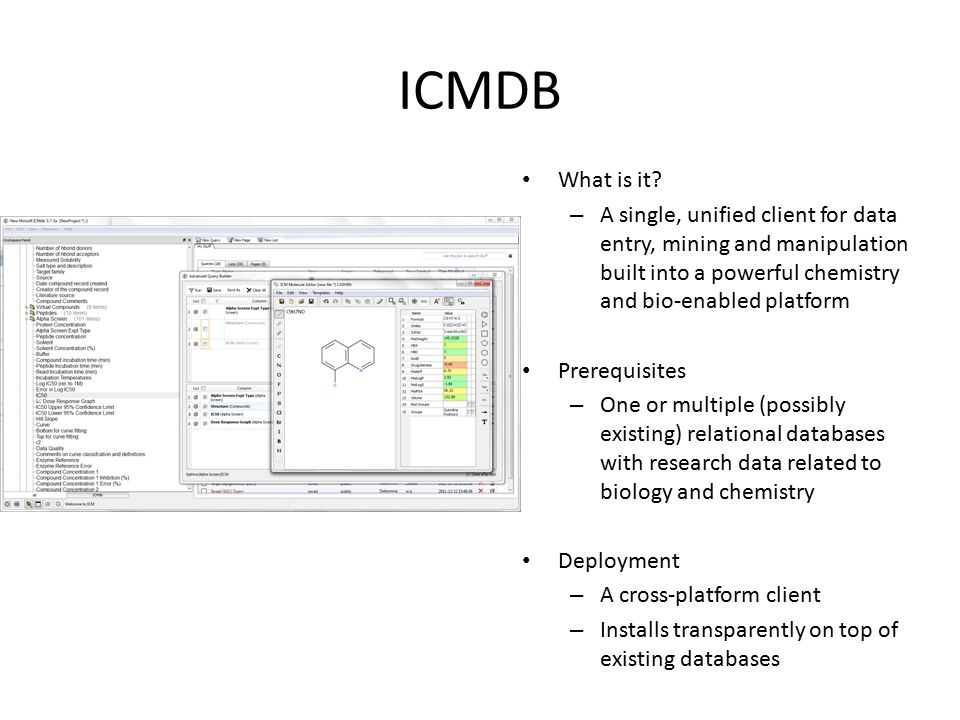 ICMDB What is it? – A single, unified client for data entry, mining and manipulation built into a powerful chemistry and bio-enabled platform Prerequi
