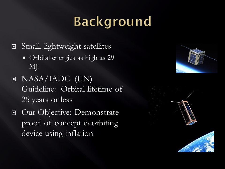  Small, lightweight satellites  Orbital energies as high as 29 MJ.