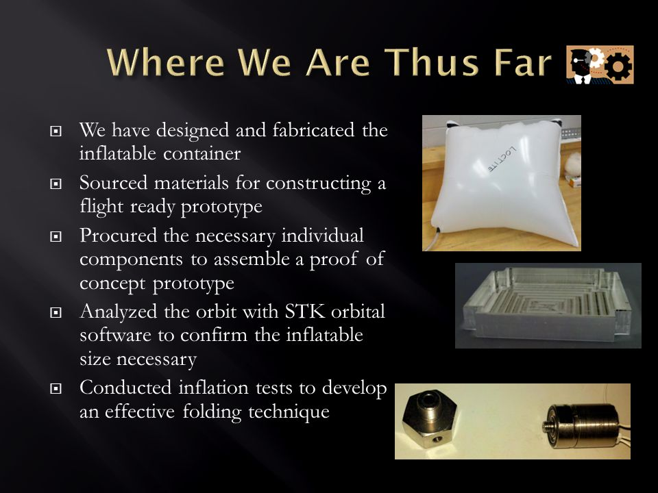  We have designed and fabricated the inflatable container  Sourced materials for constructing a flight ready prototype  Procured the necessary individual components to assemble a proof of concept prototype  Analyzed the orbit with STK orbital software to confirm the inflatable size necessary  Conducted inflation tests to develop an effective folding technique