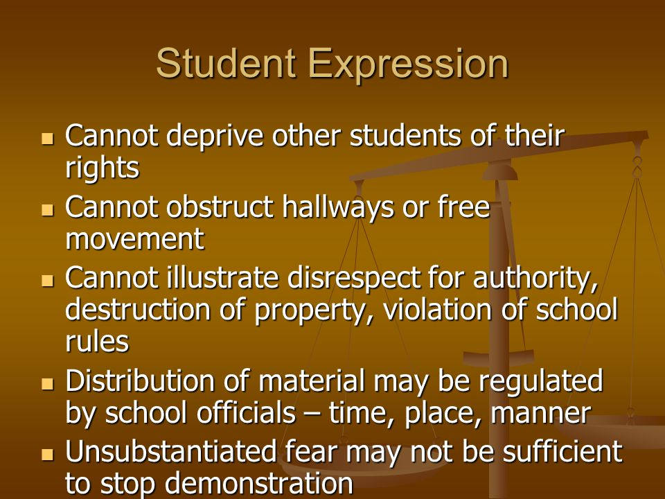 Student Expression Cannot deprive other students of their rights Cannot deprive other students of their rights Cannot obstruct hallways or free moveme