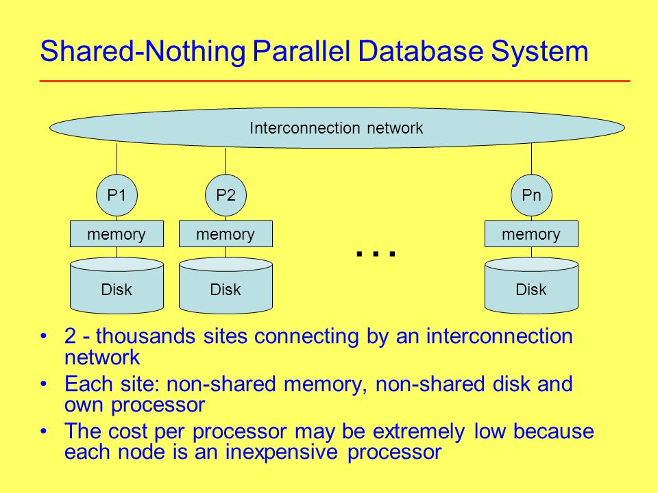Shared-Nothing Parallel Database System 2 - thousands sites connecting by an interconnection network Each site: non-shared memory, non-shared disk and own processor The cost per processor may be extremely low because each node is an inexpensive processor Interconnection network Disk memory P1 memory P2 memory Pn …