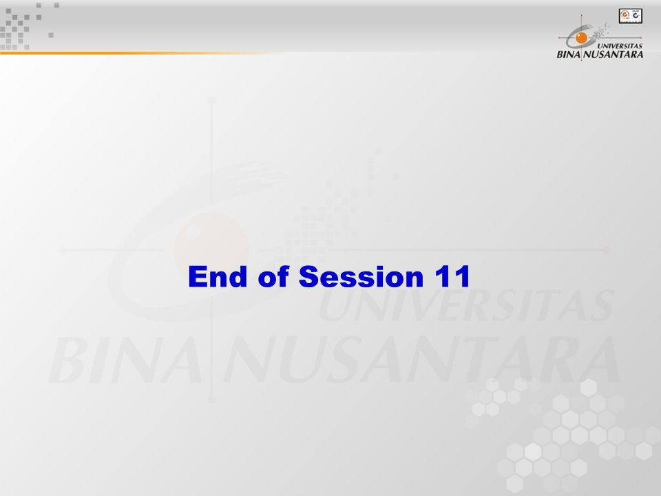 End of Session 11