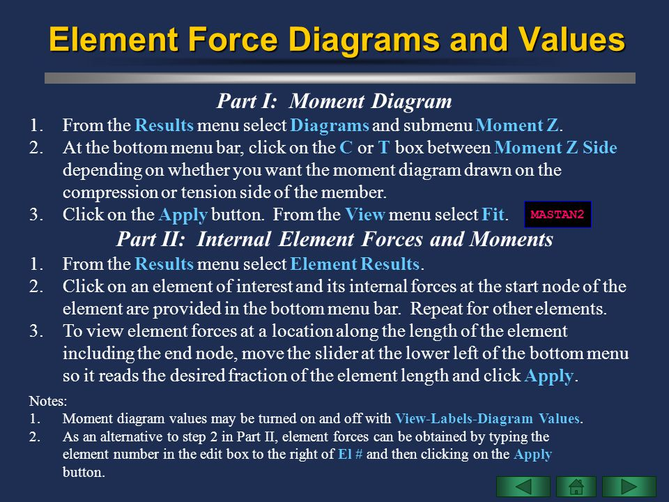 Element Force Diagrams and Values Part I: Moment Diagram 1.From the Results menu select Diagrams and submenu Moment Z. 2.At the bottom menu bar, click